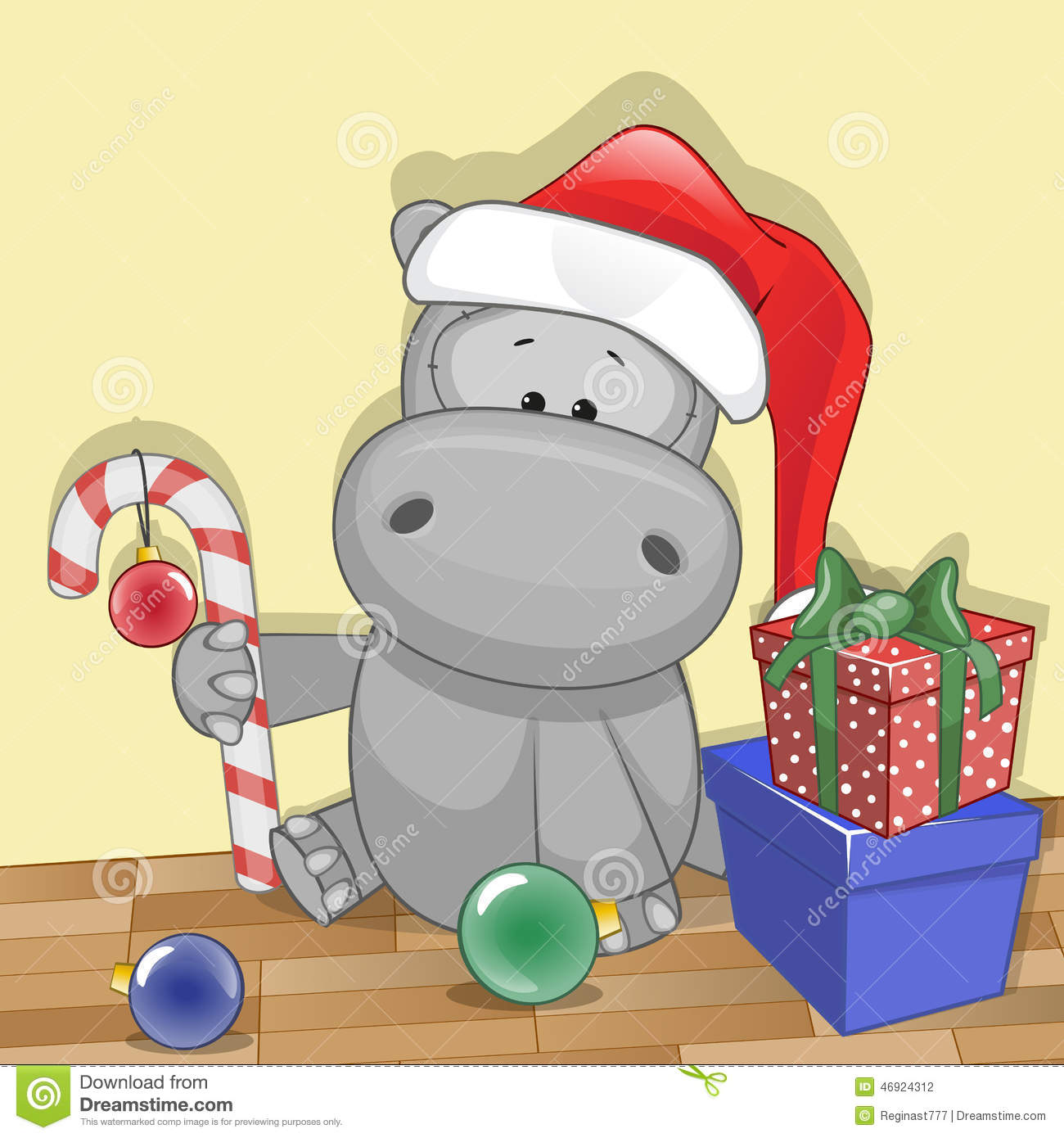 Hippo In Christmas Hat. Stock Vector - Image: 79148611