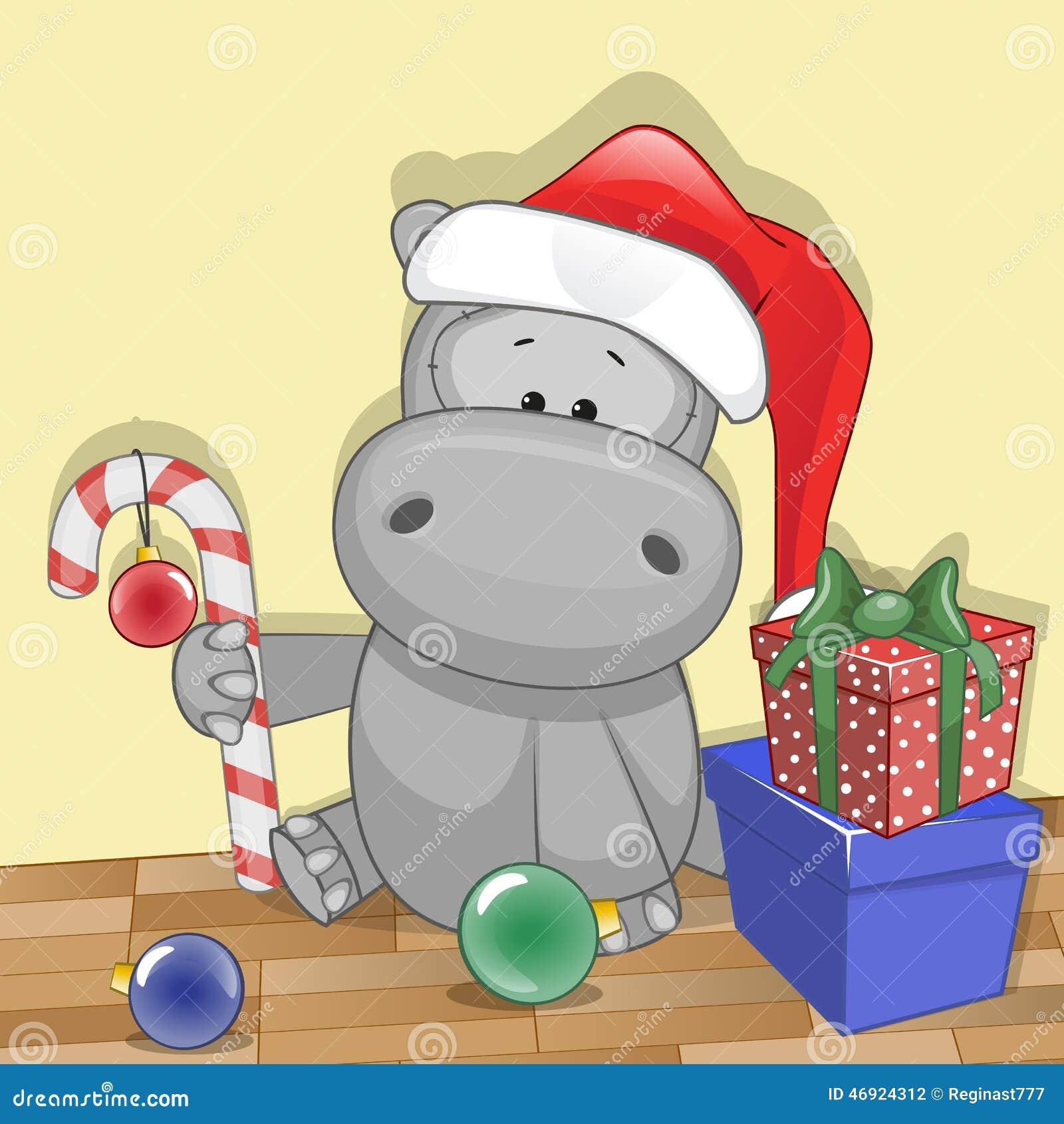 Hippo For Christmas.Santa Hippo Stock Vector Illustration Of Animals Christmas
