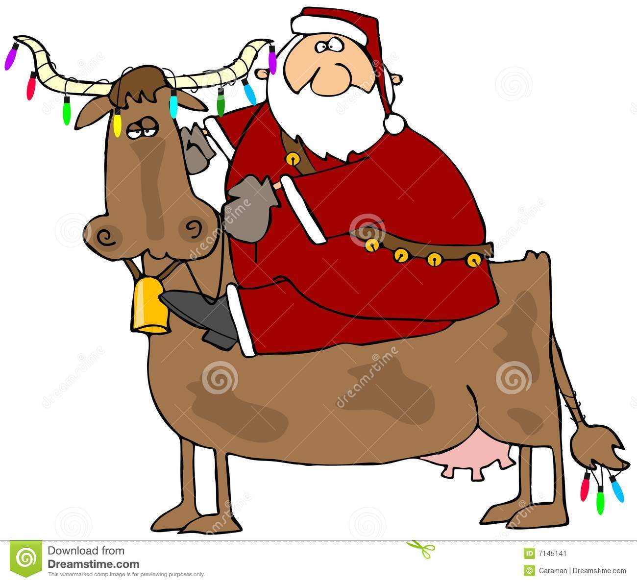 This illustration depicts Santa riding a cow with Christmas lights on ...