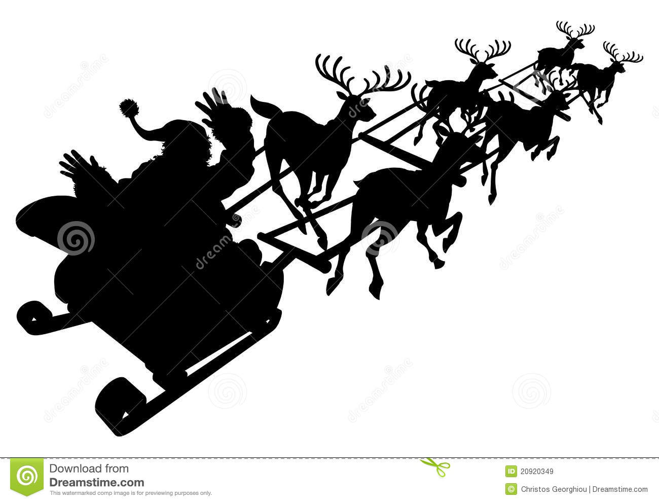 Santa In His Christmas Sled Or Sleigh Silhouette Royalty Free Stock ...