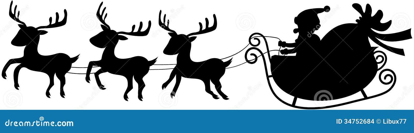 Santa sleigh flying silhouette
