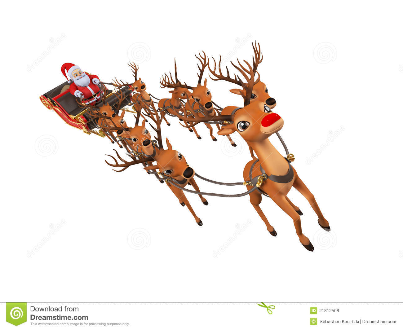 Santa With His Sleigh Royalty Free Stock Photos - Image: 21812508