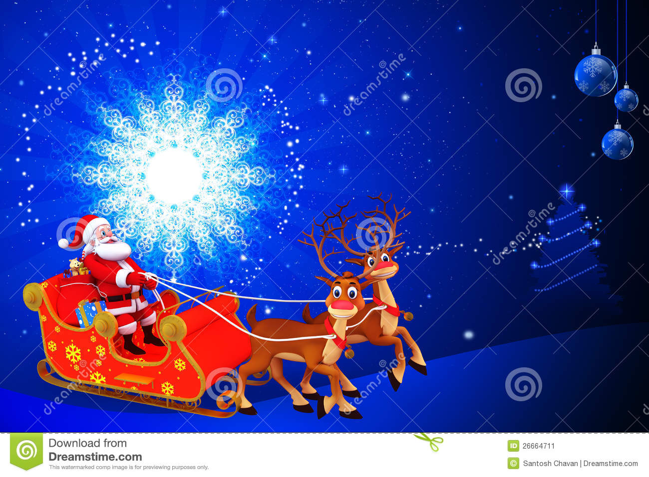 Stock Image: Santa in his sleigh with blue background. Image: 26664711
