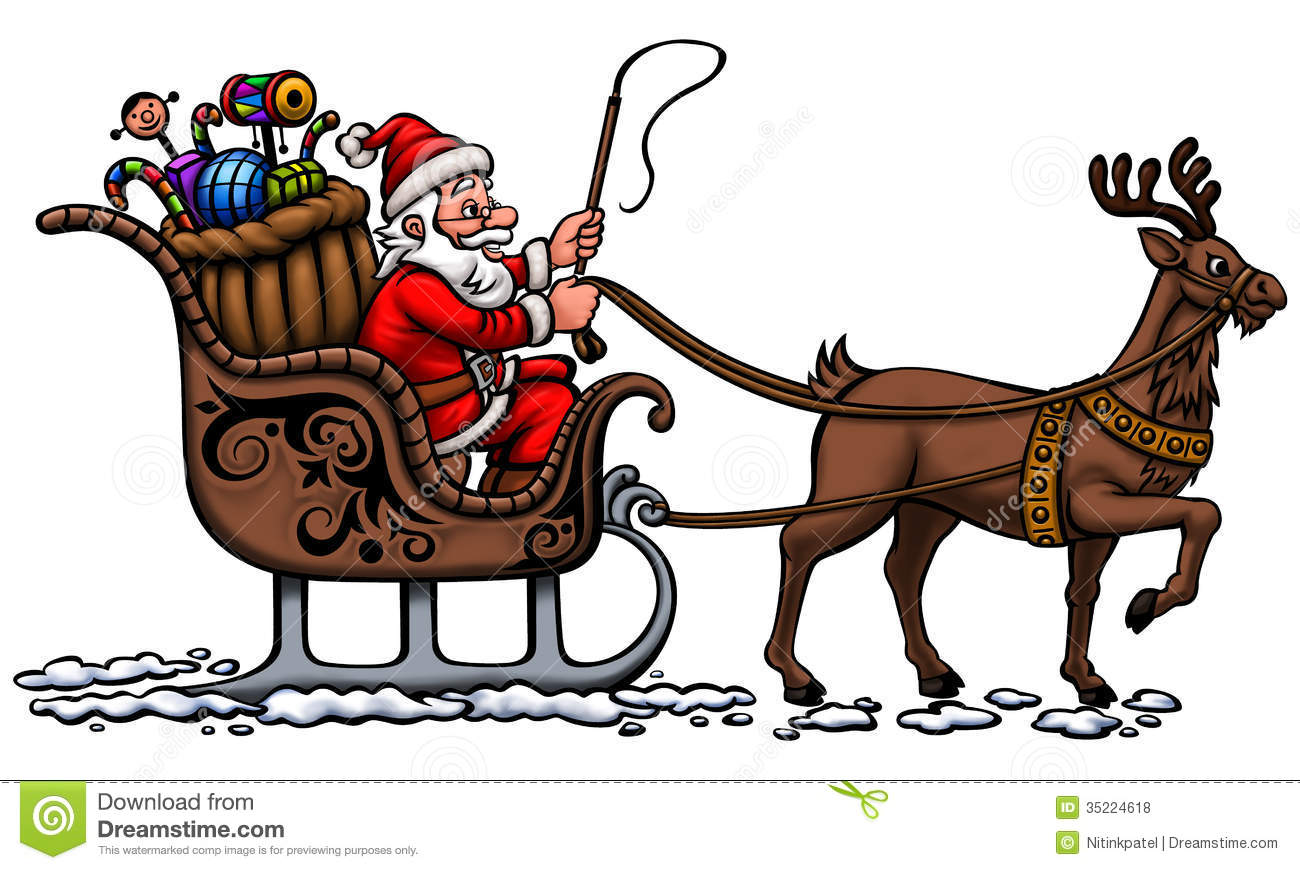 Santa In His Sleigh Royalty Free Stock Photos - Image: 35224618