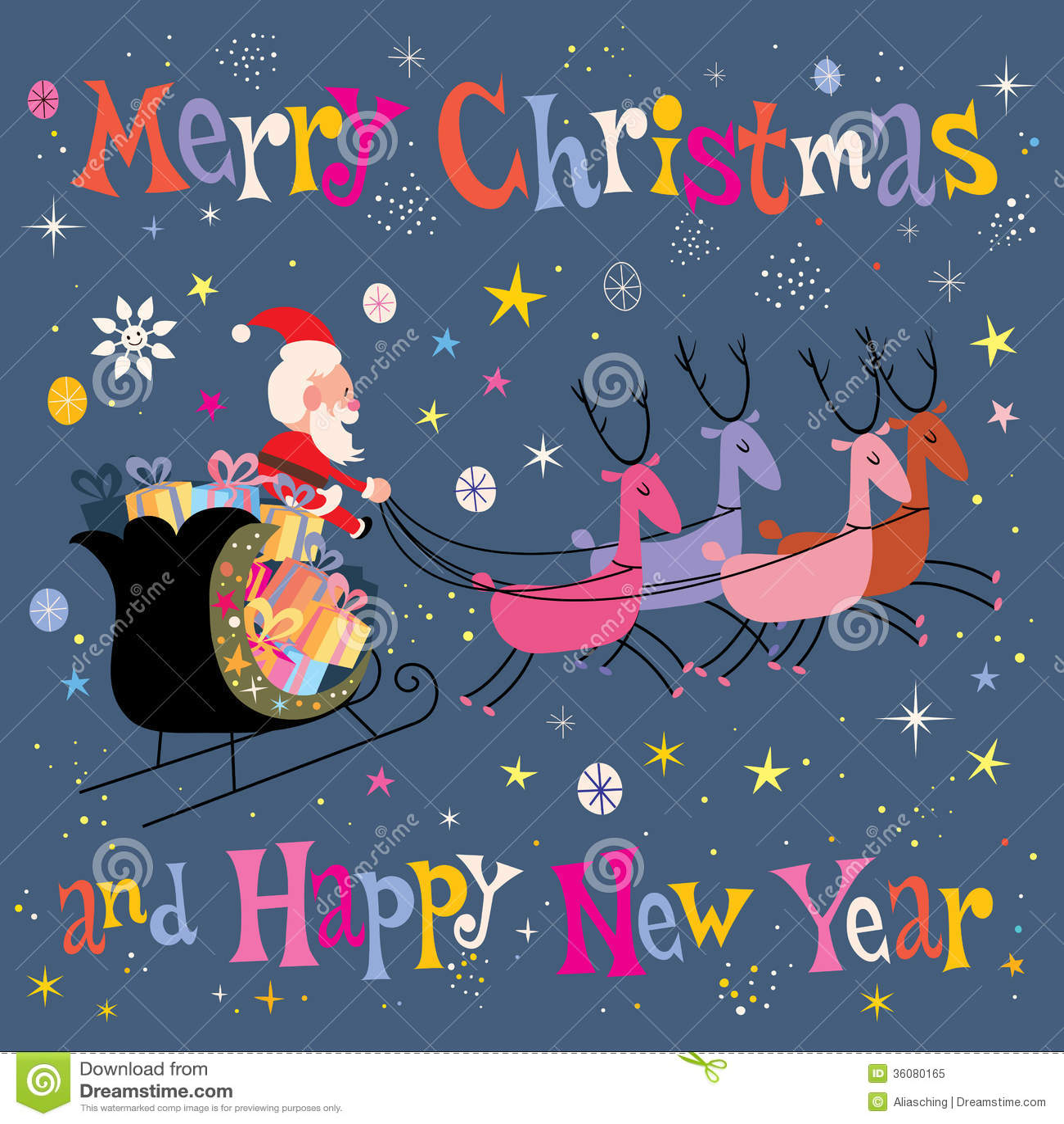 Santa and his sleigh flying merry christmas and happy new year santa and his sleigh flying merry christmas and happy new year greeting card m4hsunfo