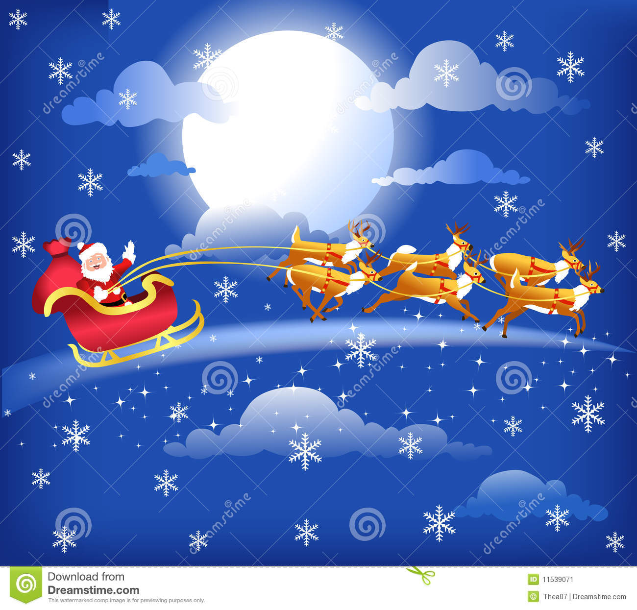 santa in his sleigh with his reindeer stock vector illustration of