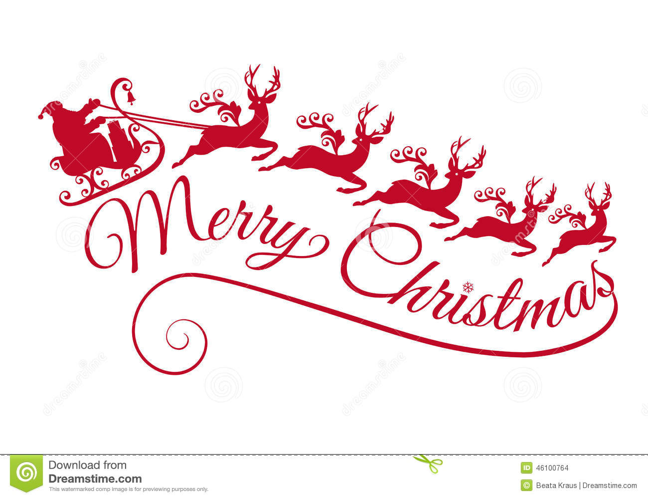Santa With His Sleigh And Reindeers, Vector Stock Vector ...