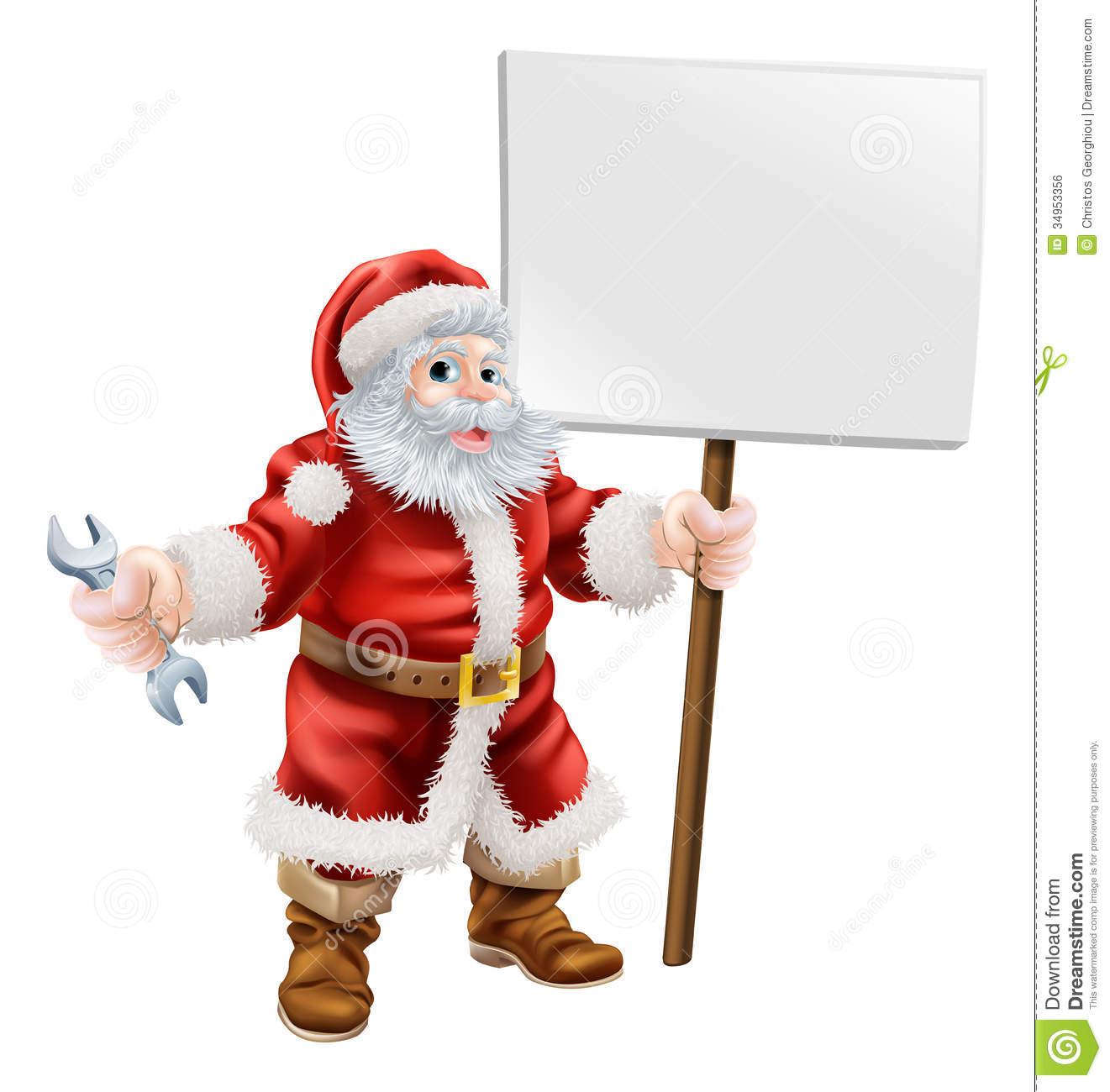 Santa Holding Spanner And Sign Royalty Free Stock Image