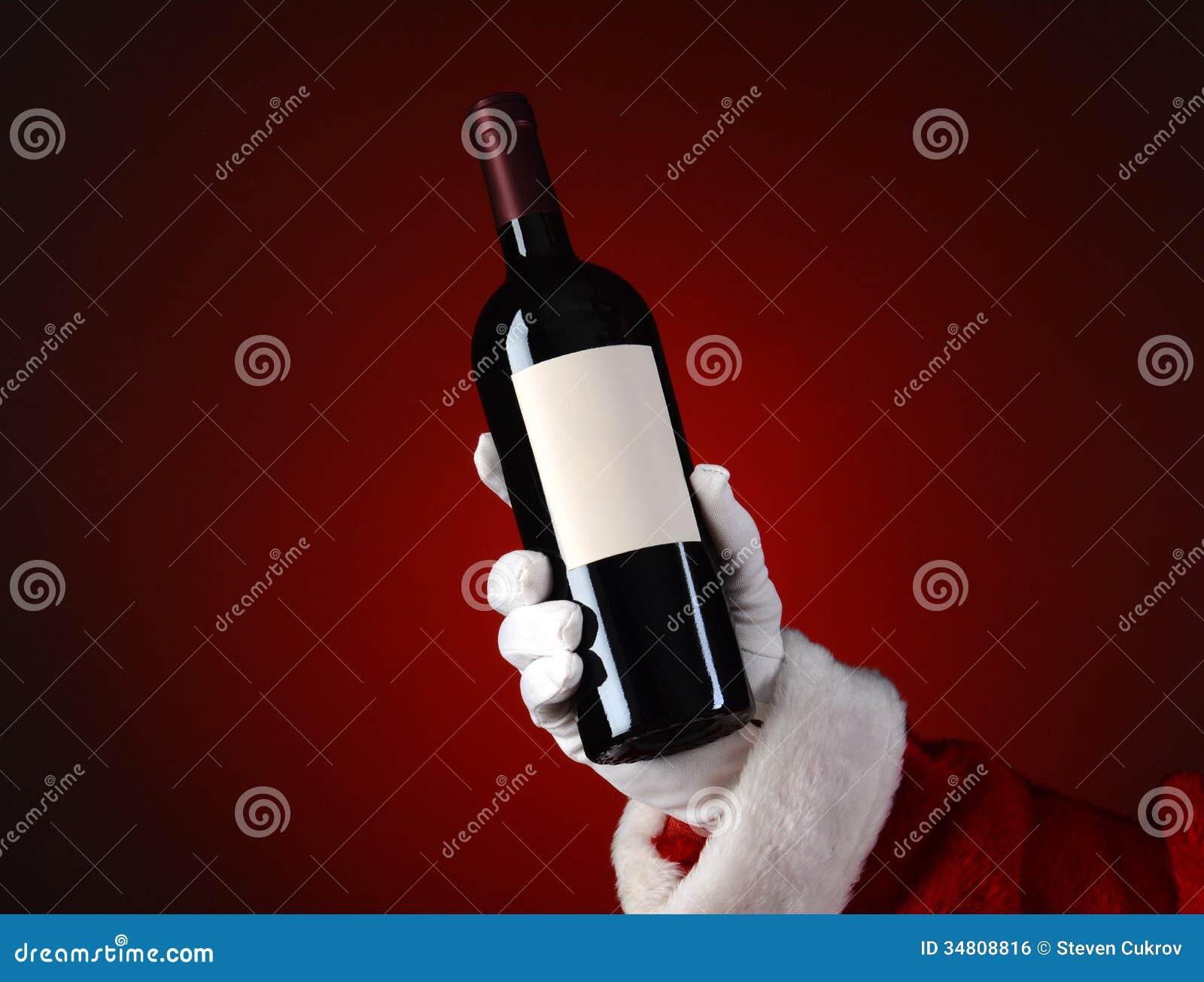 Santa Holding Wine Bottle Royalty Free Stock Image Image