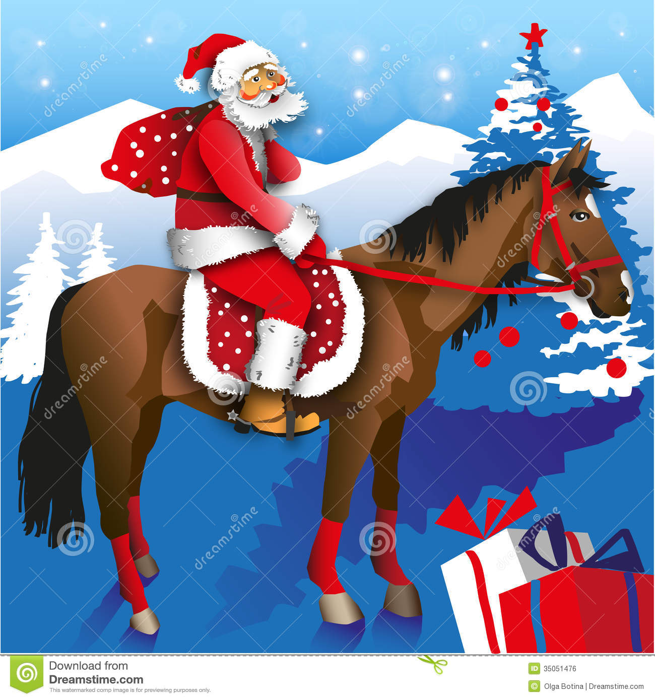 Santa rides on a horse with a bag of gifts on a background of ...