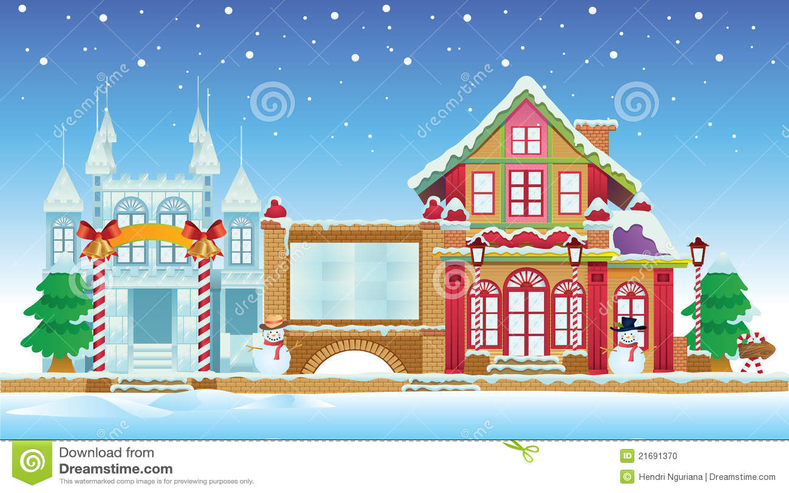 Santa House And Ice Castle Stock Photo Image 21691370