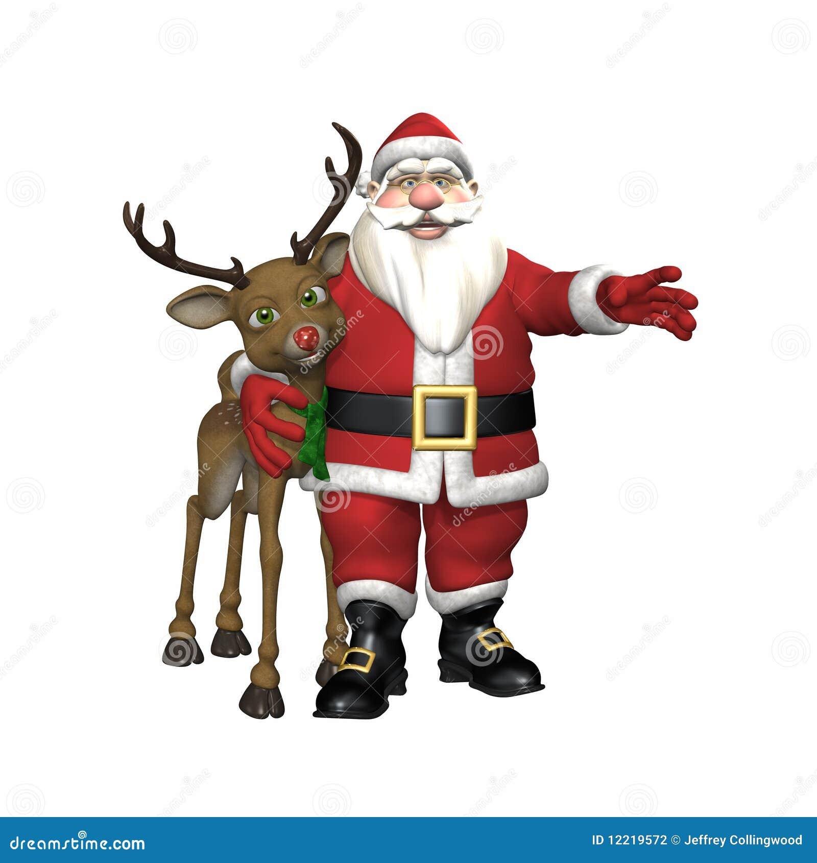 Santa With Reindeer Santa hugging reindeer stock