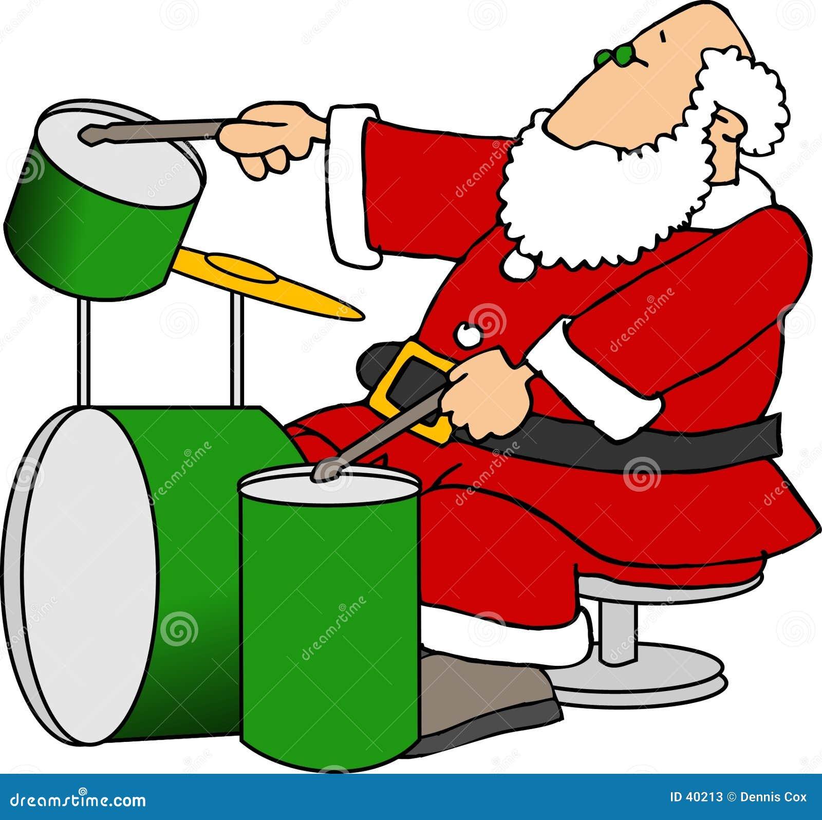 Santa jouant des tambours