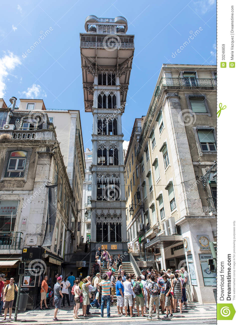 PORTUGAL - JULY 27: Santa Justa elevator in Lisbon, Portugal on July ...