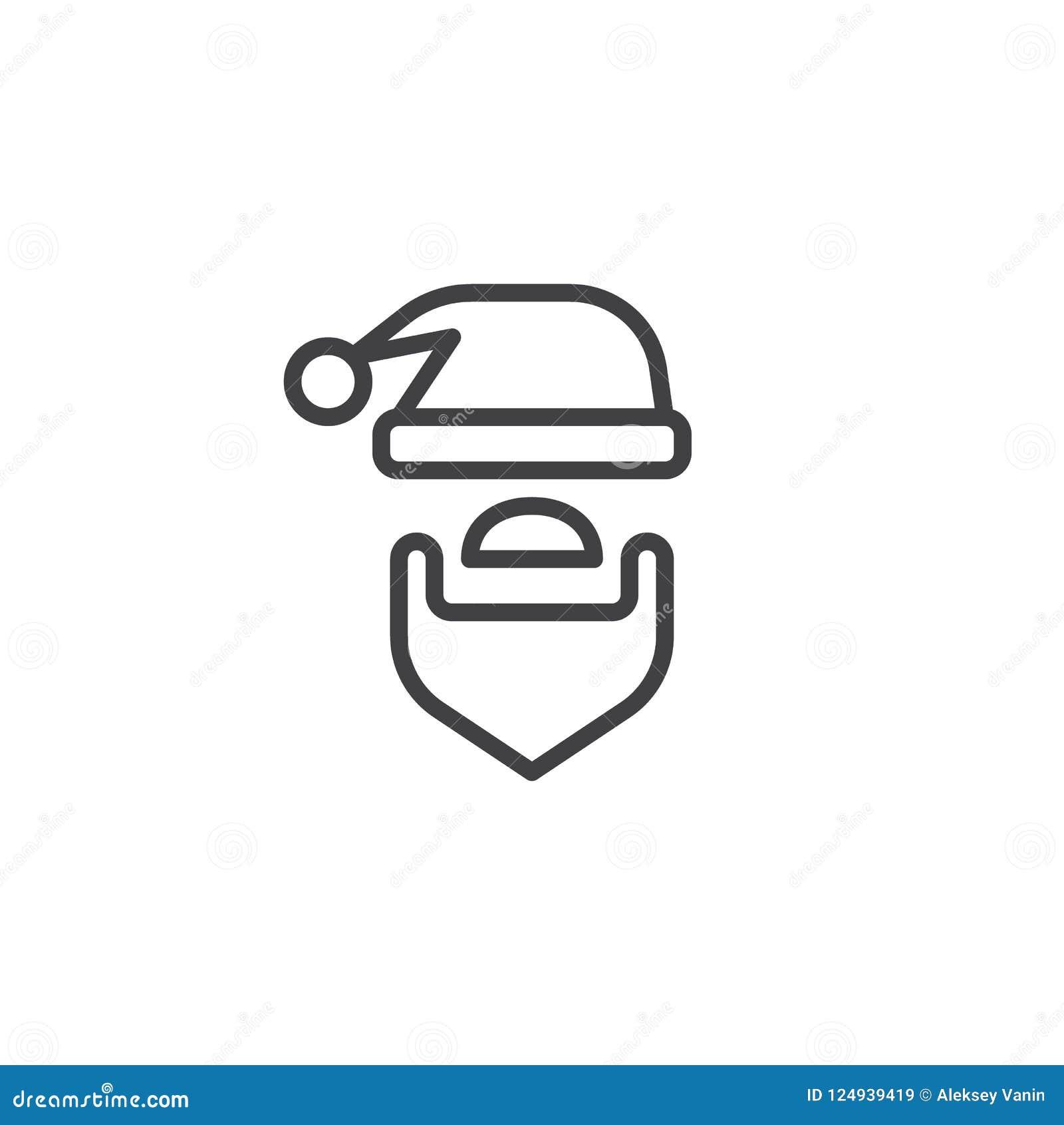 Santa kapelusz i broda konturu ikona