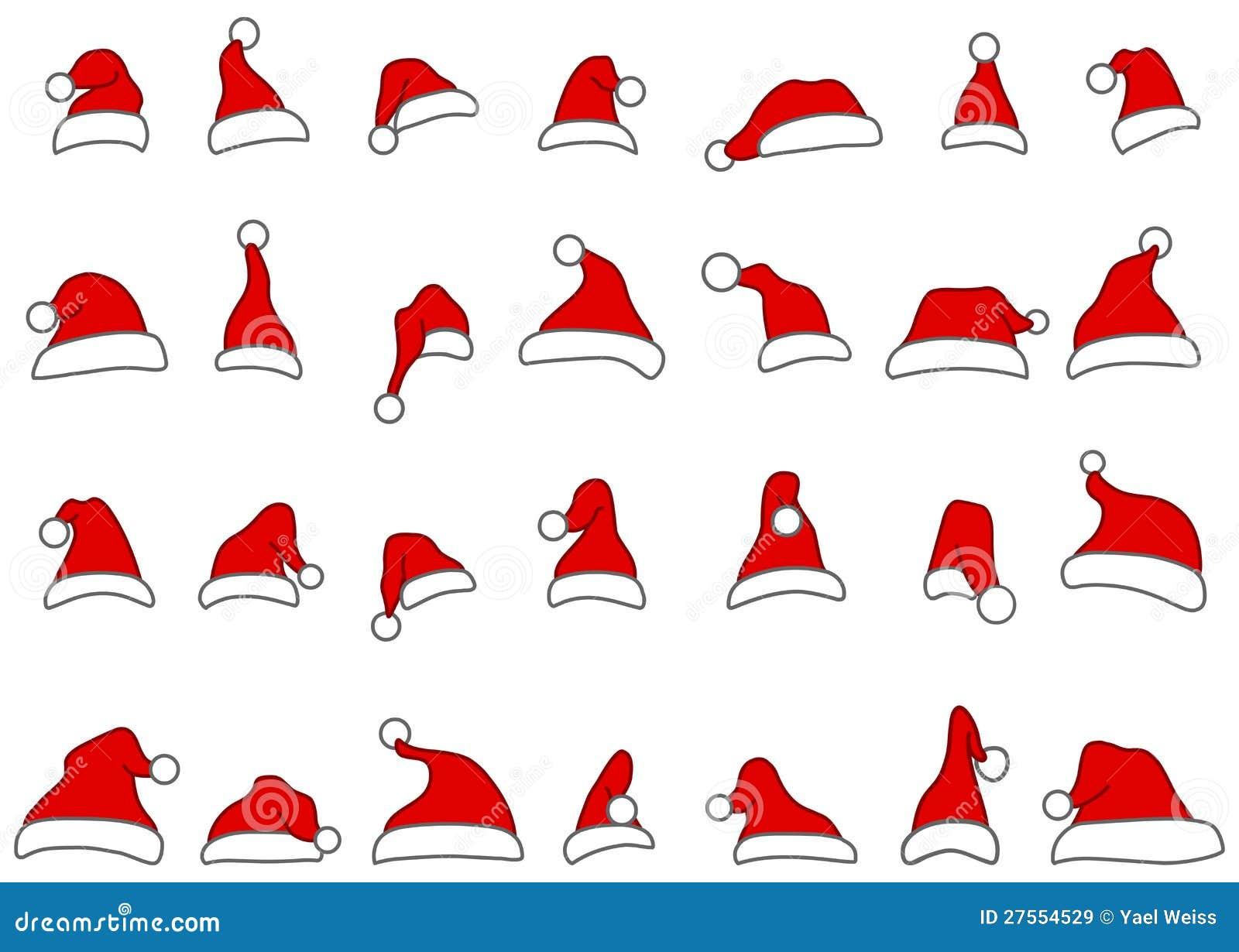 Santa kapeluszy doodles