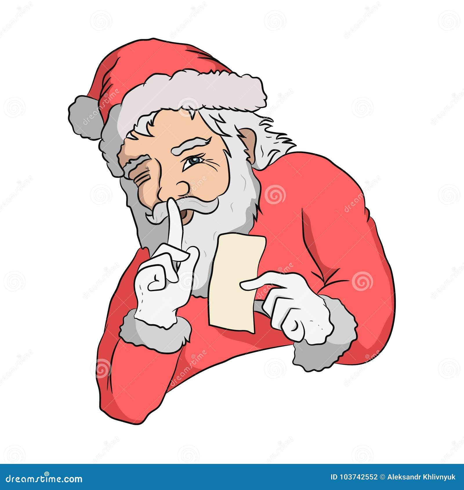 Santa is keeping secret stock illustration illustration of clipart santa is keeping secret santa claus with greeting card hand drawn illustration m4hsunfo