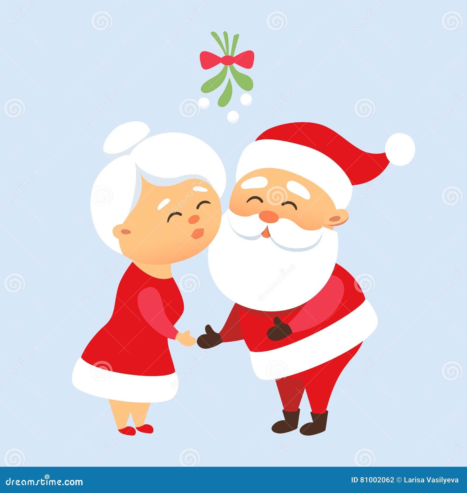 Santa Kiss His Wife Stock Vector. Illustration Of Love