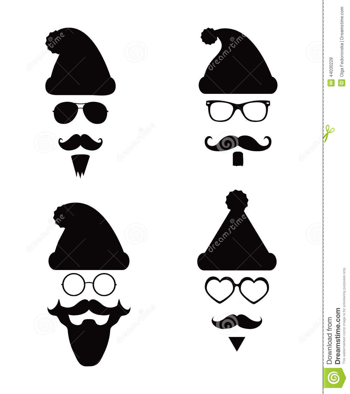 Santa Klaus Fashion Silhouette Hipster Style Stock Vector