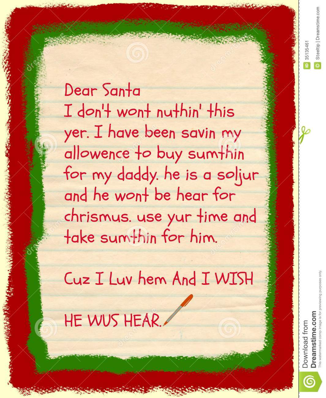 Stock Image: Santa Letter: Requests Gift For Military Dad. Image ...