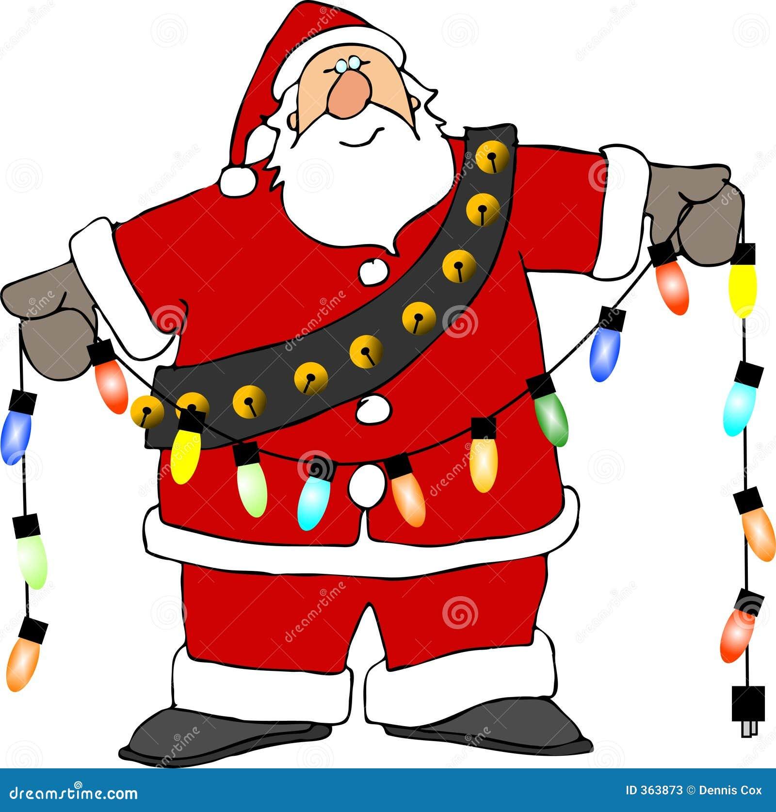 Santa Lights Stock Image Of Humor Xmas Bells Beard