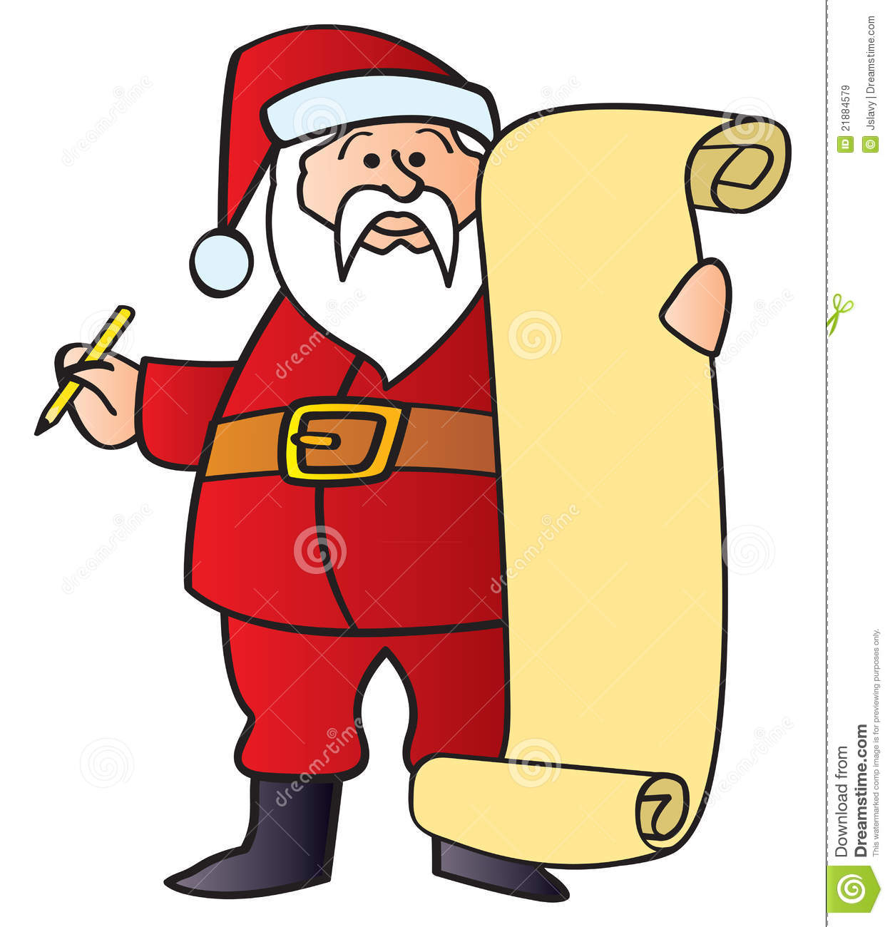 Santa With List Royalty Free Stock Images - Image: 21884579