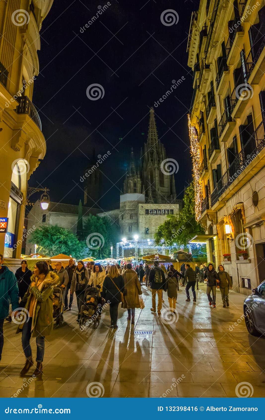 Santa Llucia christmas market at night in Barcelona, Catalonia, Spain