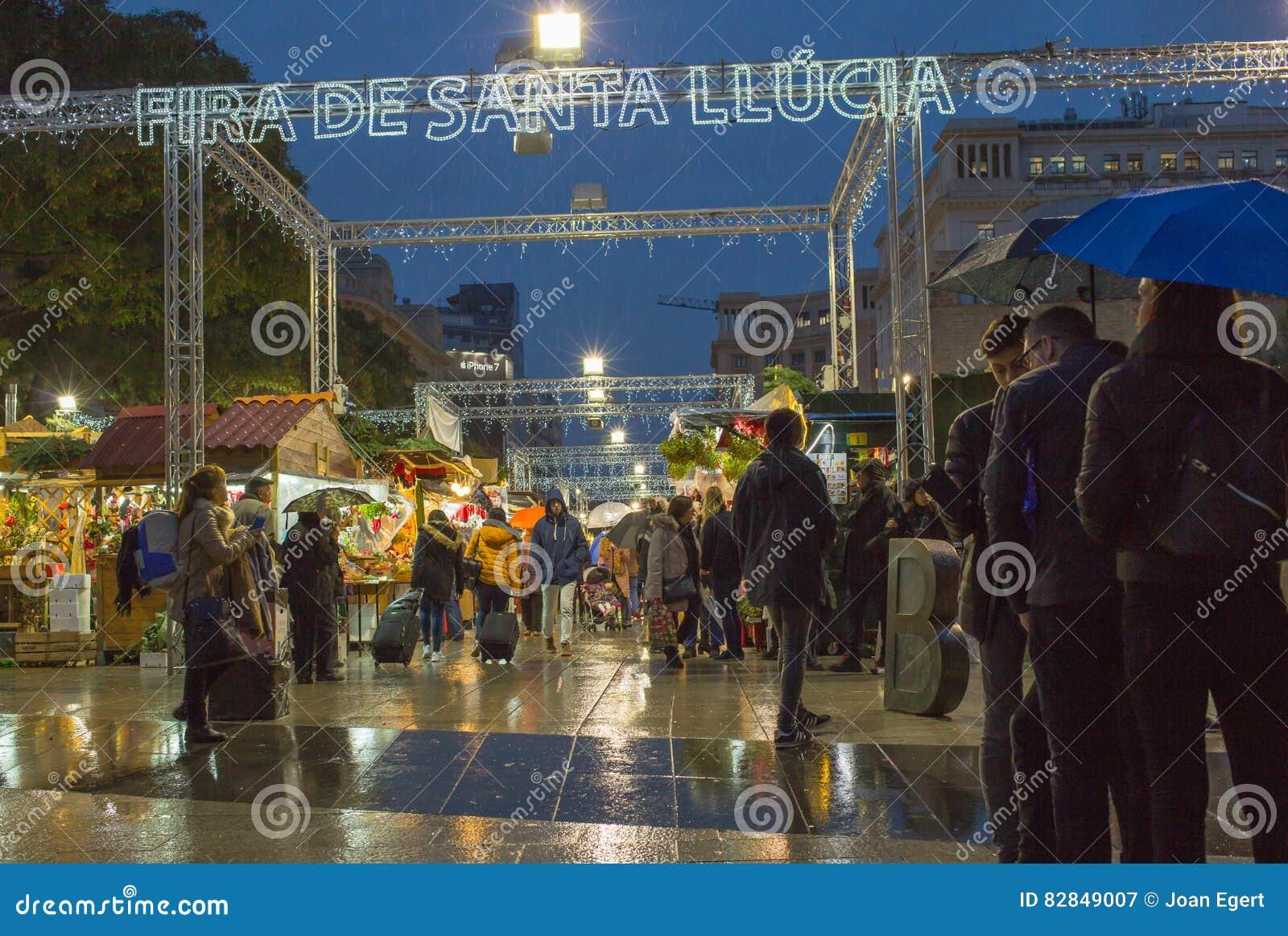 Santa Llucia Christmas night market Barcelona
