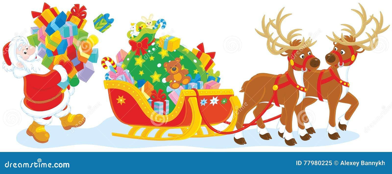 santa loading gifts stock vector image of santa  sledge santa in his sleigh clipart free santa in sleigh clipart