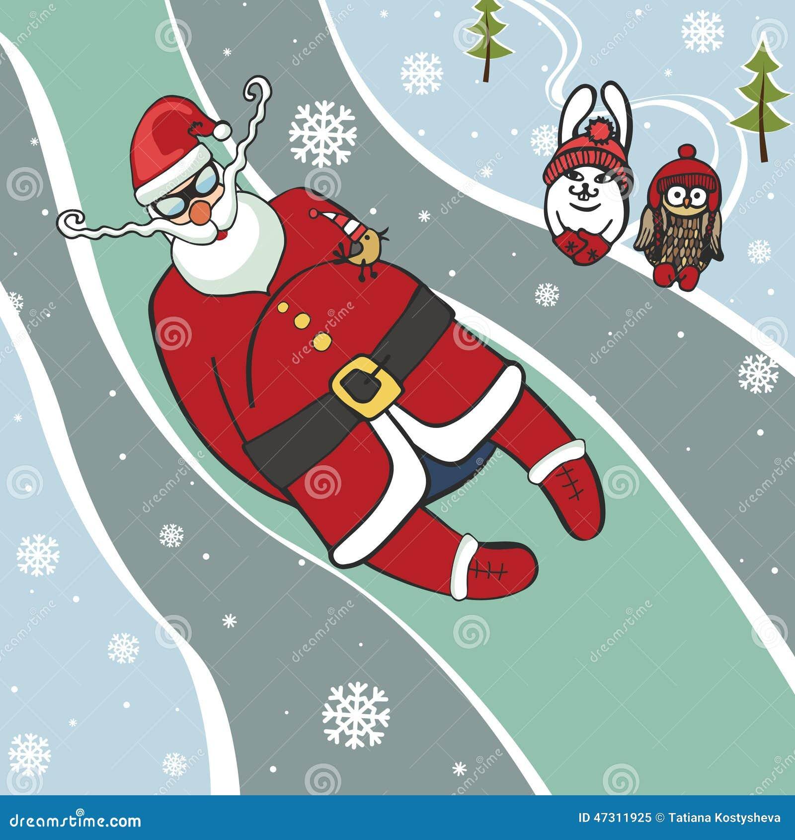 Santa Luge Coureur Illustrations Humoristiques L Hiver Illustration De Vecteur Illustration Du Humoristiques Hiver 47311925
