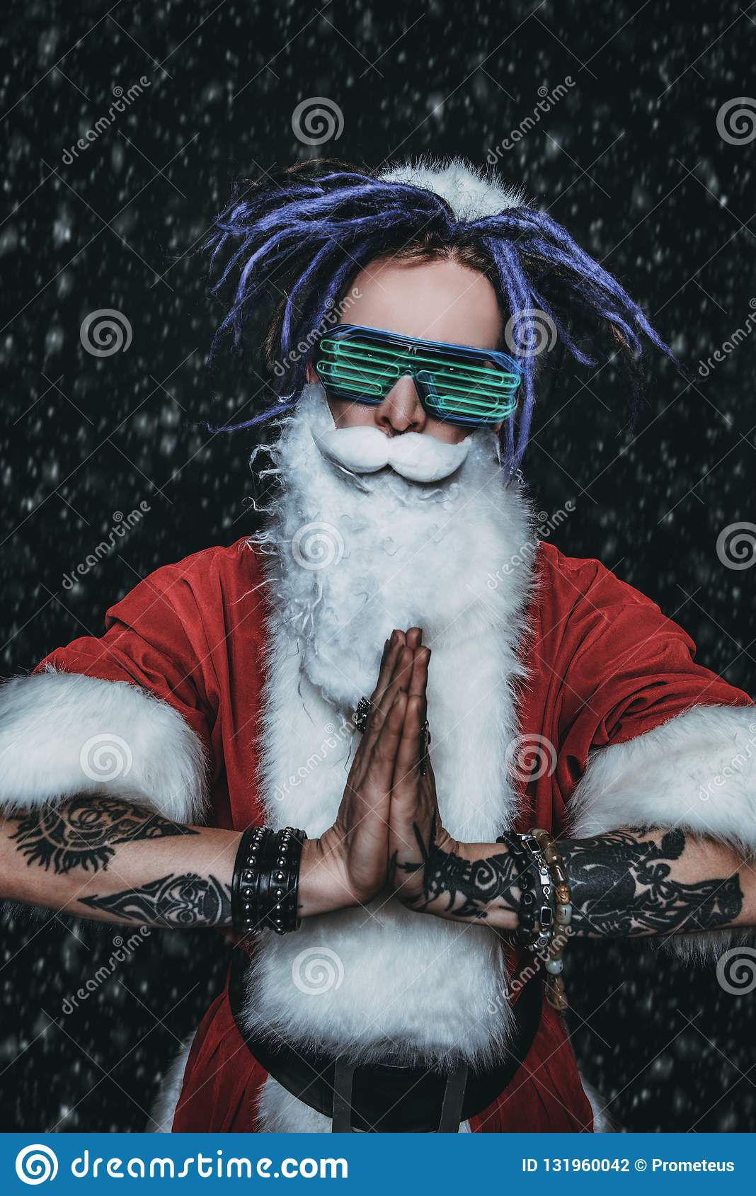 Santa in luminous glasses