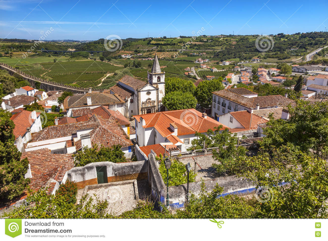 Santa Maria Church Castle Walls Countrside Obidos Portugal