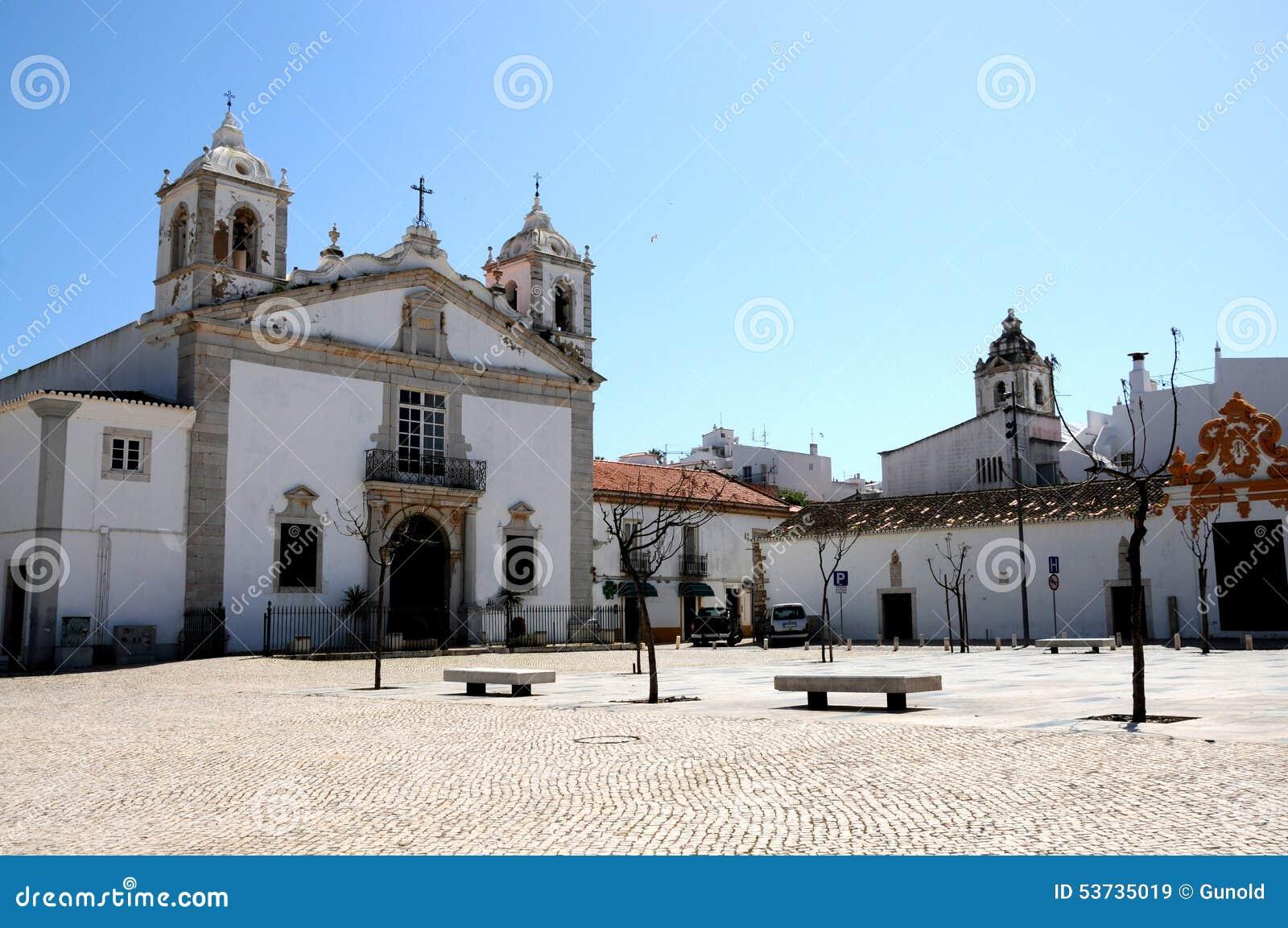 Portugal Algarve Karta.Santa Maria Church In Lagos Stock Image Image Of Praca