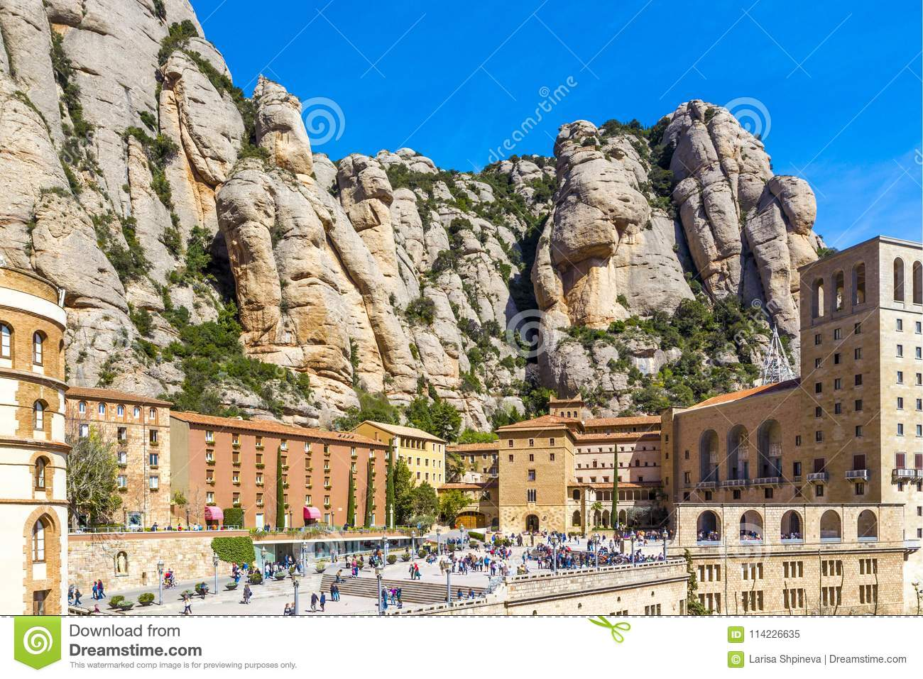9d38f2ea90 Santa Maria De Montserrat Abbey In Monistrol In Beautiful Summer Day ...