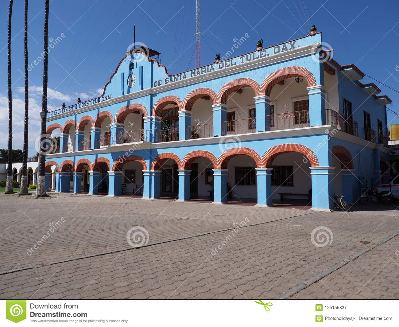 Front and side of town hall on main market square in mexican city center at Oaxaca state in Mexico