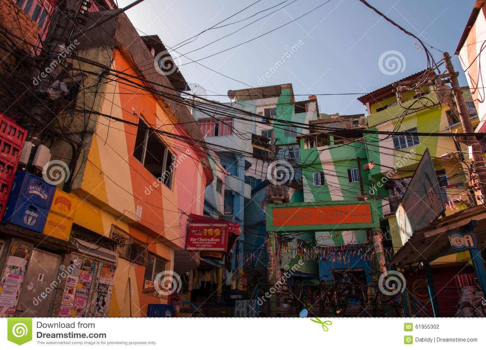 Santa Marta favela i swój kolorowi domy