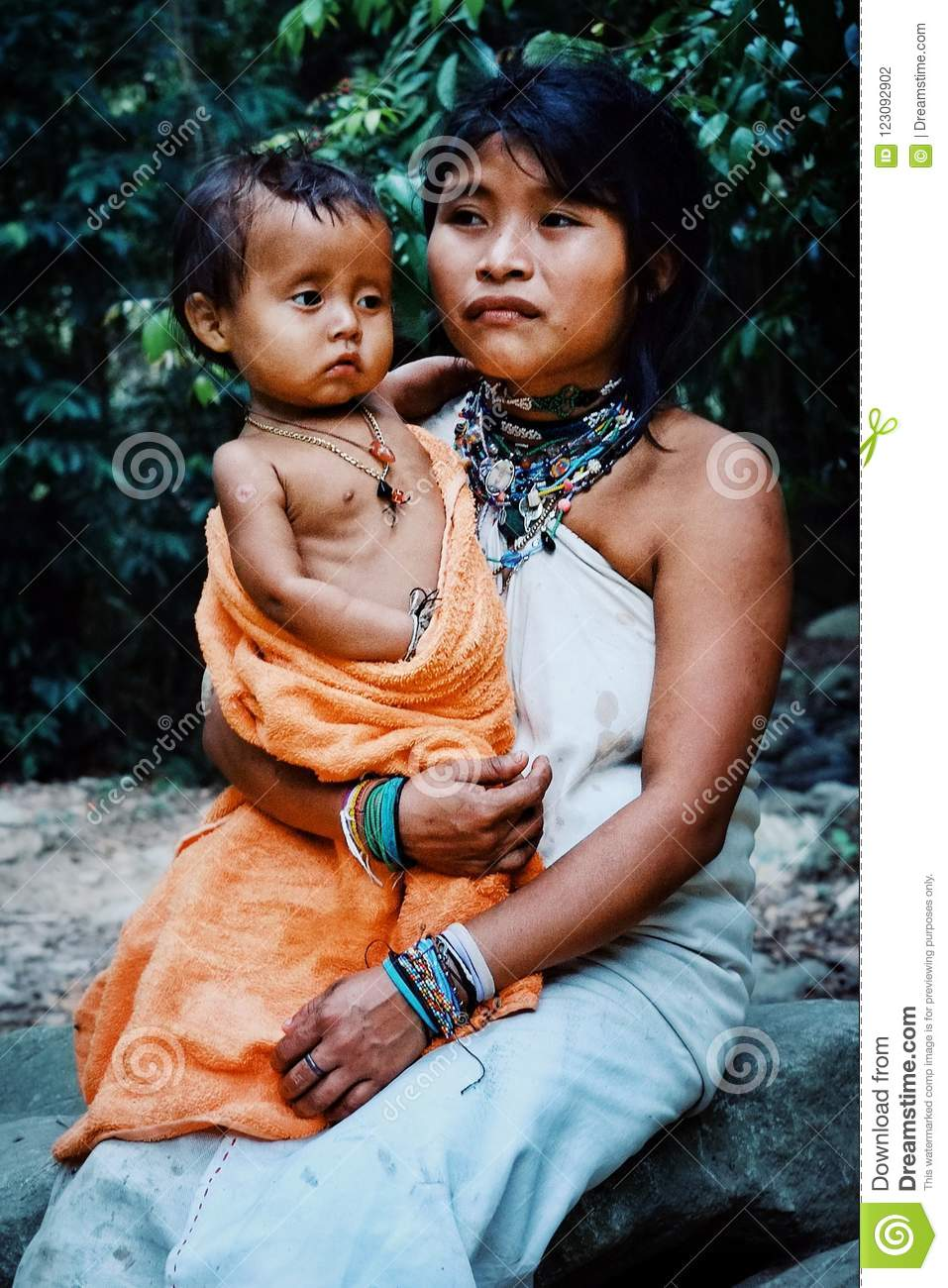 Kogi tribal member mother with his new born son
