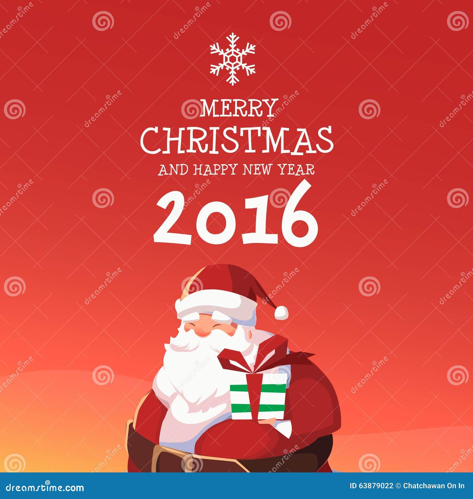 Santa Merry Christmas Und Guten Rutsch Ins Neue Jahr 2016 Vektor ...