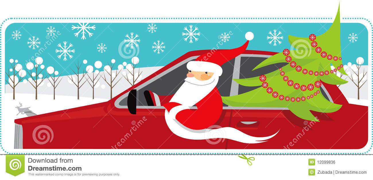 Expensive Car For Sale Or Gift Royalty Free Stock Image: Santa Mobile Royalty Free Stock Image