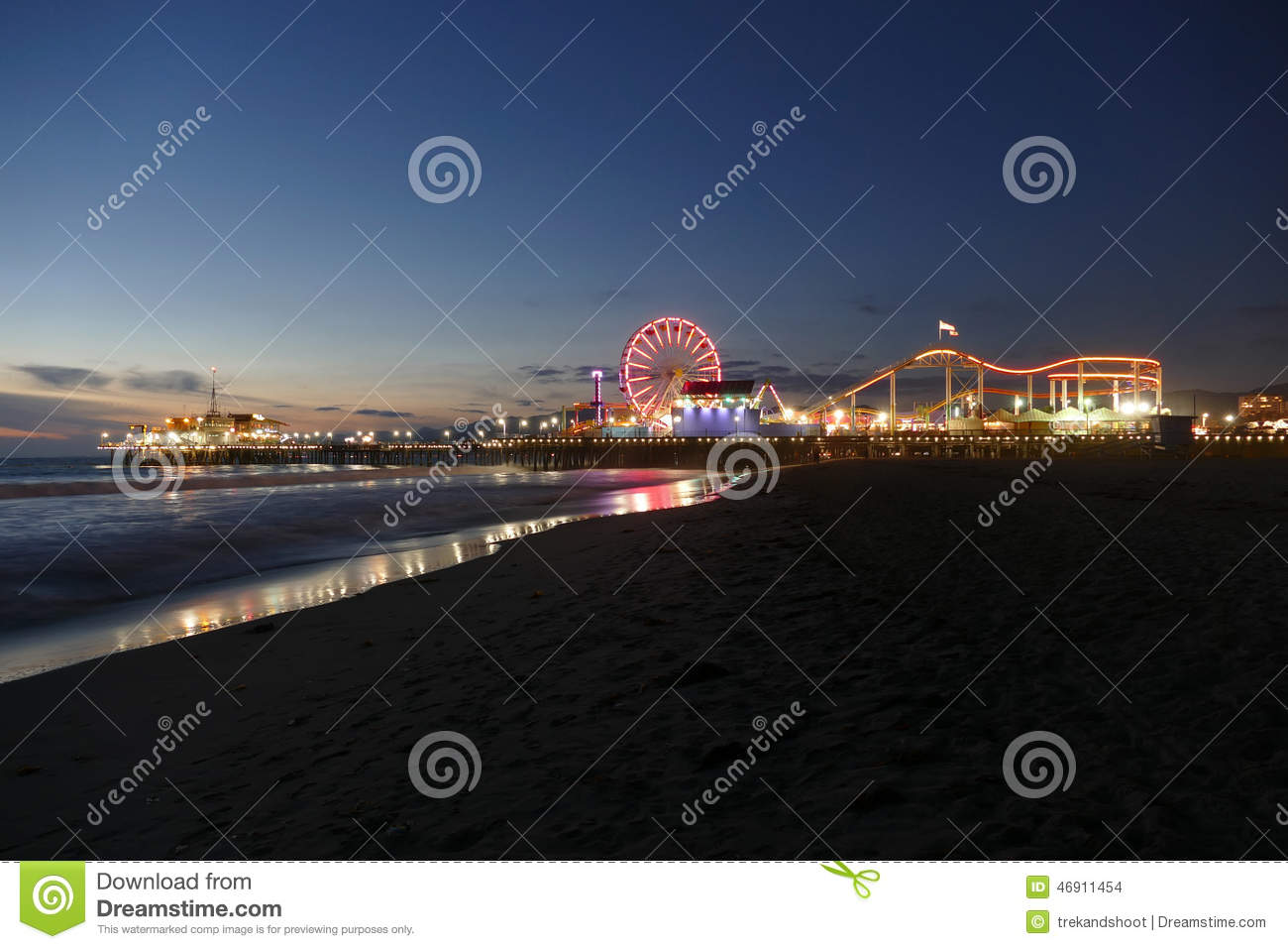 Santa Monica Beach und Pier Night