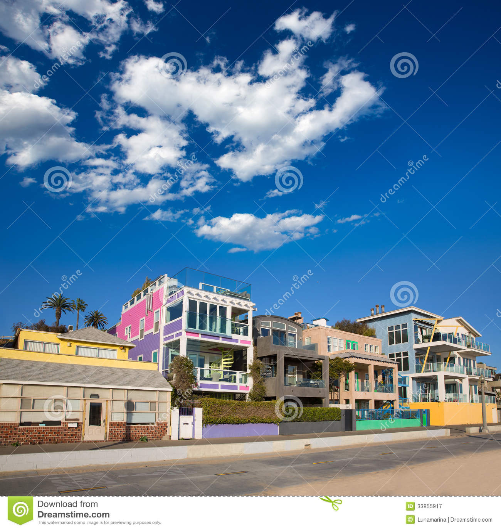 Pacific City Beach House Rentals: Santa Monica California Beach Colorful Houses Royalty Free