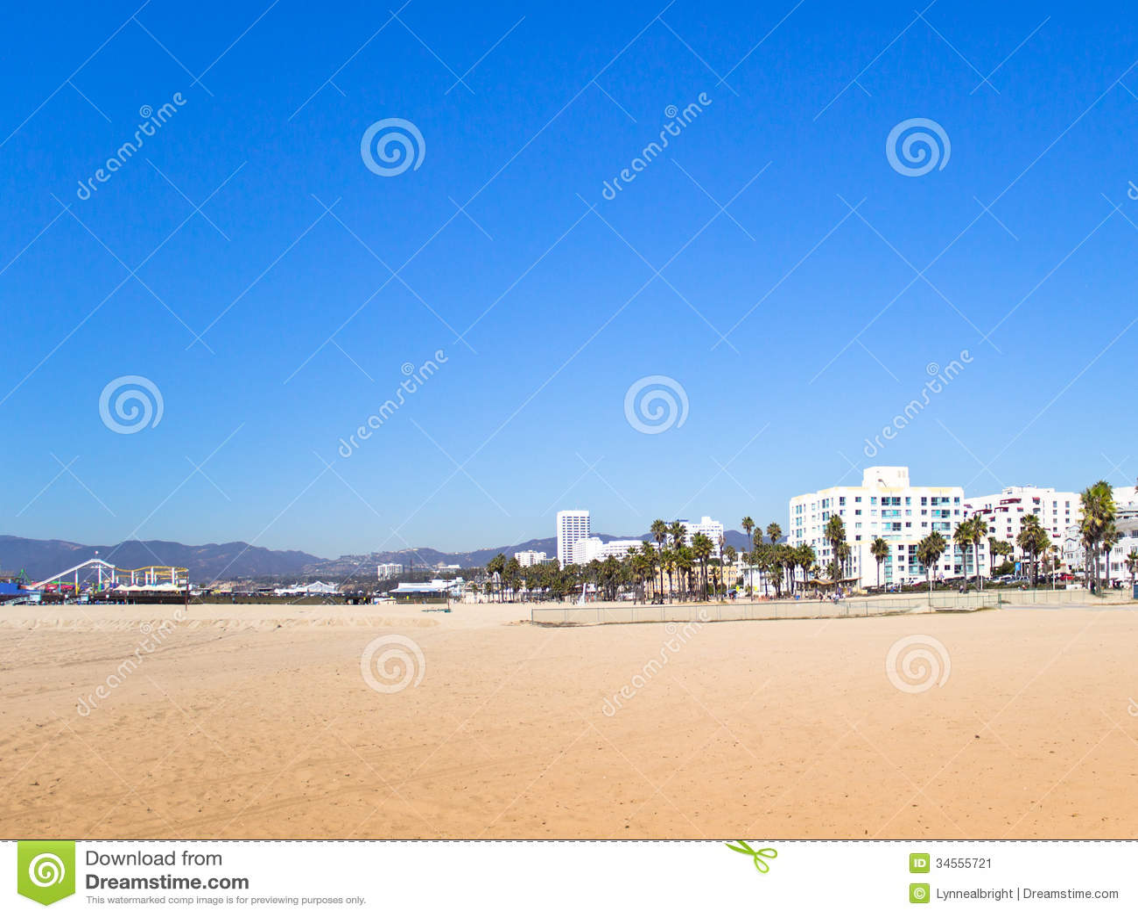 santa monica pier ca and hotels stock image image. Black Bedroom Furniture Sets. Home Design Ideas