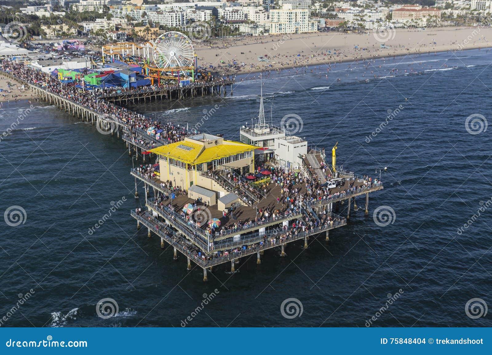 Santa Monica Pier Summer Weekend Crowds Aerial