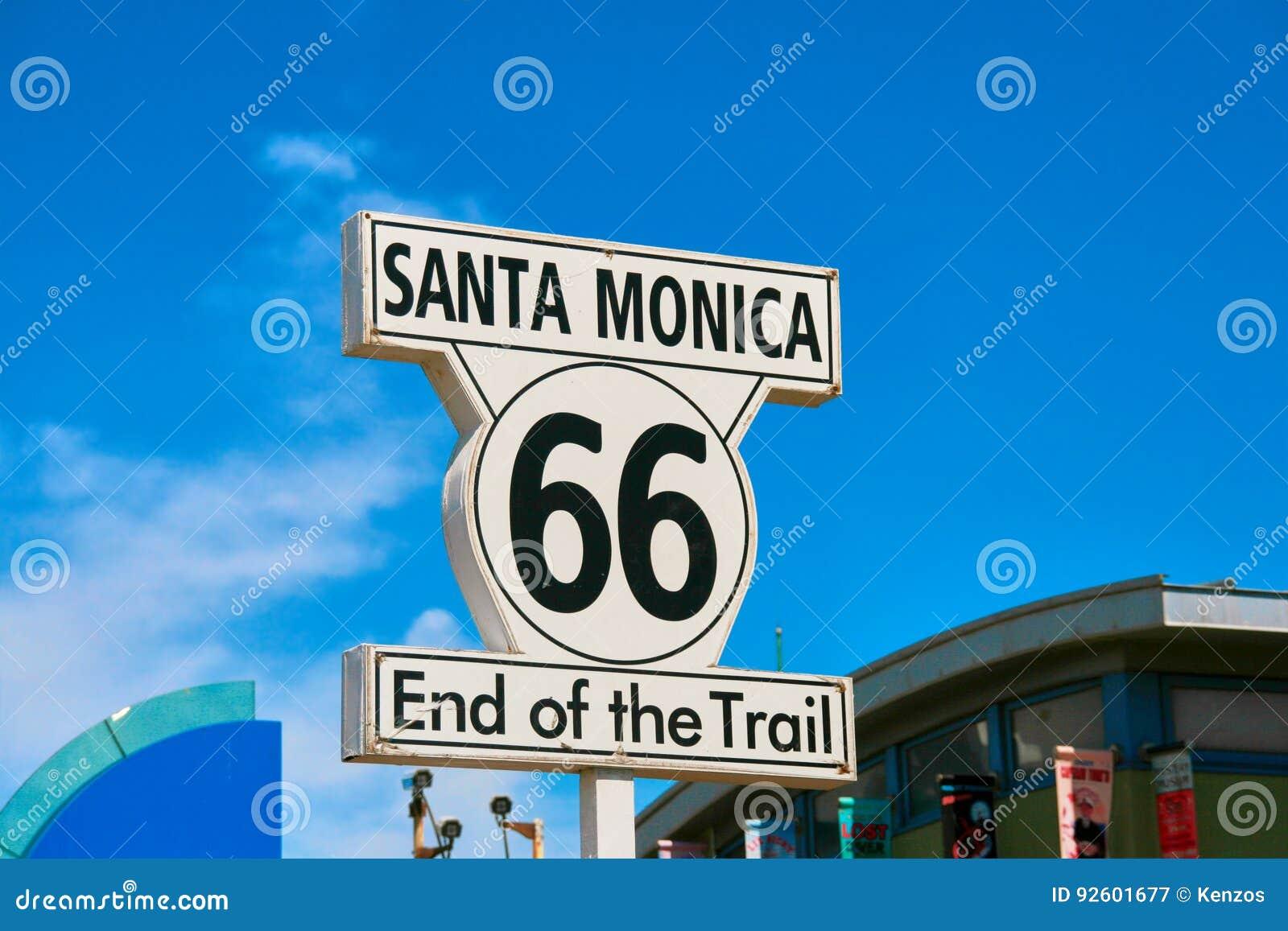 Santa Monica tecken - slut för rutt 66 av drevet