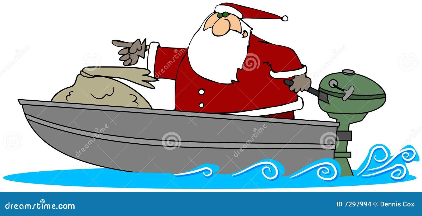 Cartoon Outboard Motors : Santa in a motor boat stock illustration image of