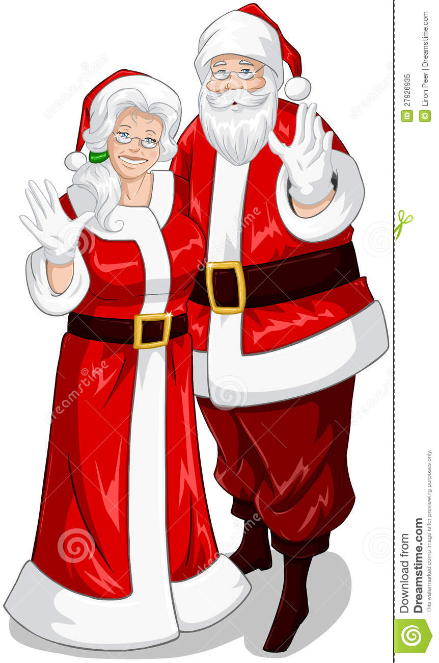 santa and mrs claus waving hands for christmas stock