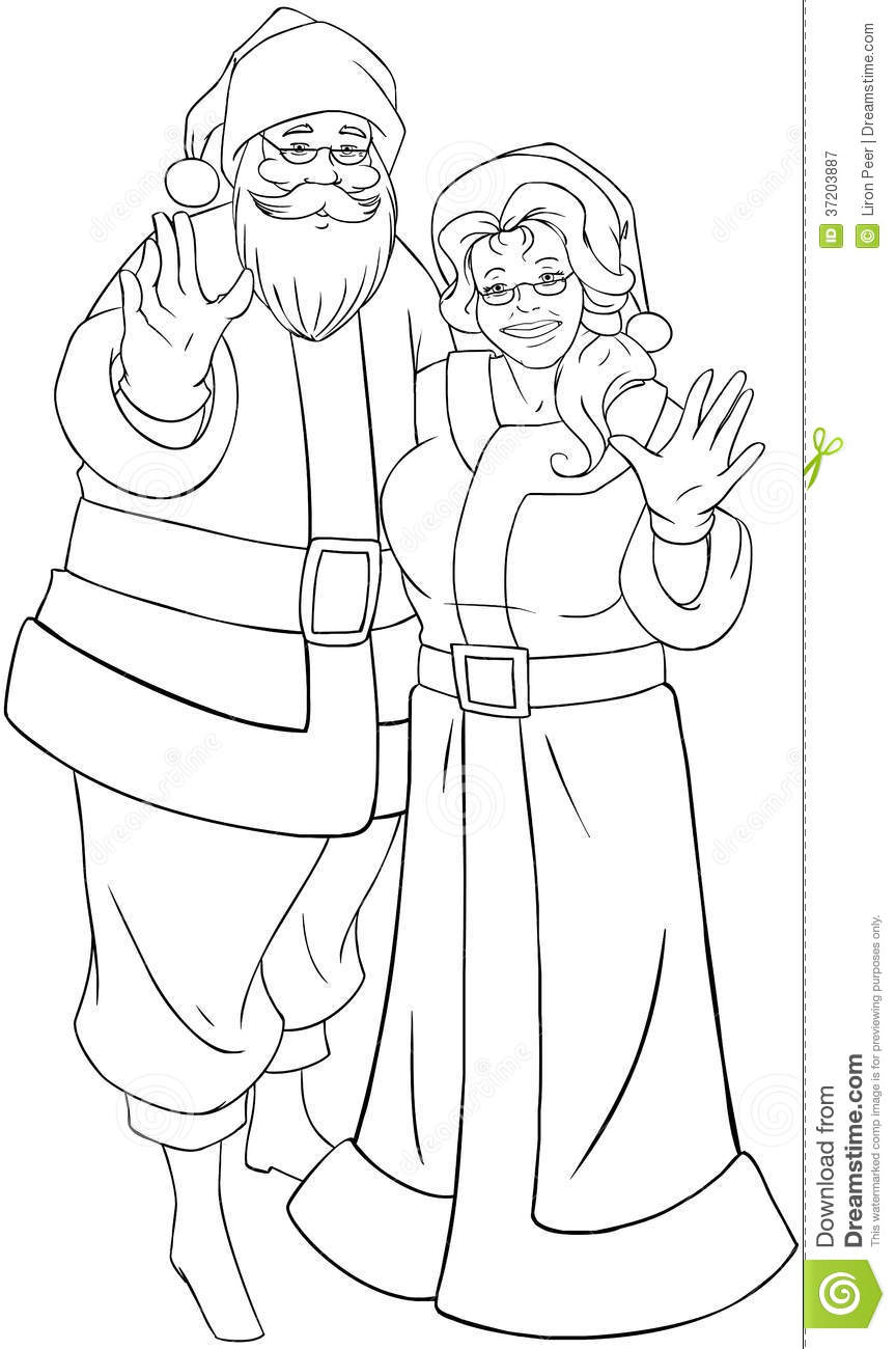 Santa And Mrs Claus Waving Hands For Christmas Col Royalty