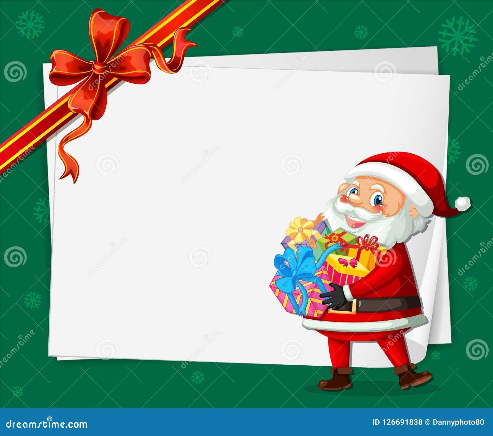 Santa na kartka bożonarodzeniowa szablonie