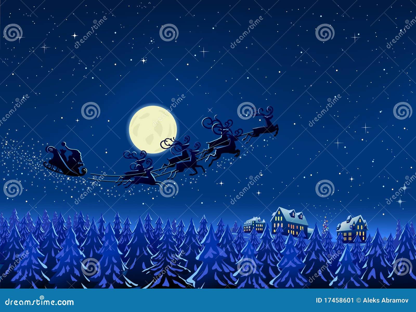 Santa na noite de Natal do inverno