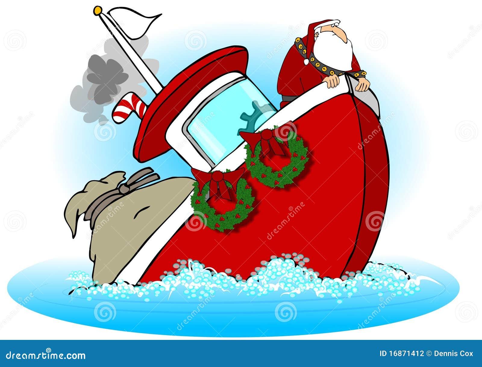 Santa no barco de naufrágio de A